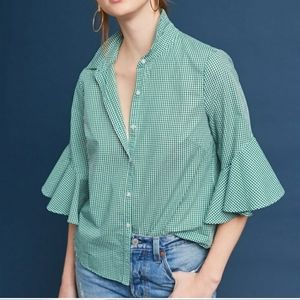 Anthro Green Gingham Bell Sleeve Button Down